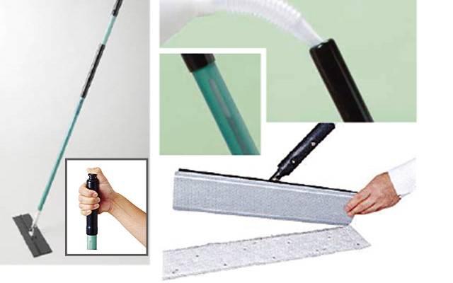イージースクラブ ウエットディスポーザブルモップキットM|水や洗剤を床に吐出させながら清掃作業に取り掛かることがで、シートはマイクロファイバーを使用しており、高い油汚れの除去能力を持ちながら、軽い力で作業ができます。